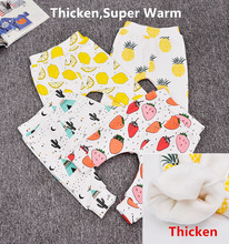2016 Winter Super Warm Kids Girls Boys Cactus Lemon Print Baby Pants Thicken Infant Fashion Trousers Children Clothing