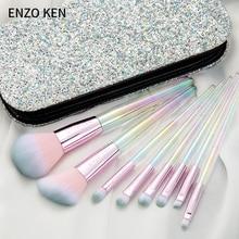 Escovas de maquiagem para mulheres enzo ken 8 pçs blush escova em pó compõem escovas conjunto profissional