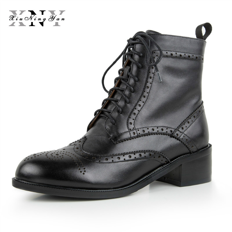 XIUNINGYAN 100% Genuine Cow Leather Ankle Chelsea Boots Woman Ladies Shoes Handmade Oxford Shoes for Women Winter Boots Big Size aardimi 100% cow leather oxford shoes for woman spring