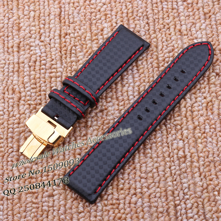 Promotion Carbon fiber Watchband Accessories Red stitched  steel Gold folding buckle straps bracelets for hours watches 20 22mm hot selling high quality new arrival genuine leather watchband carbon fiber straps 22mm with stainless steel buckle