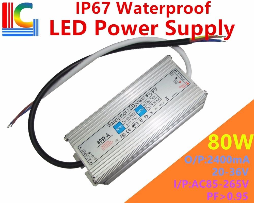 80W 2400mA IP67 vattentät strömförsörjning 20V till 36V LED-drivadapter 110V 220V strålkastare Street Light Lighting transformator CE