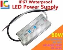 80W 2400mA IP67 Waterproof Power Supply 20V to 36V LED Driver Adapter 110V 220V Floodlight Street Light Lighting transformer CE