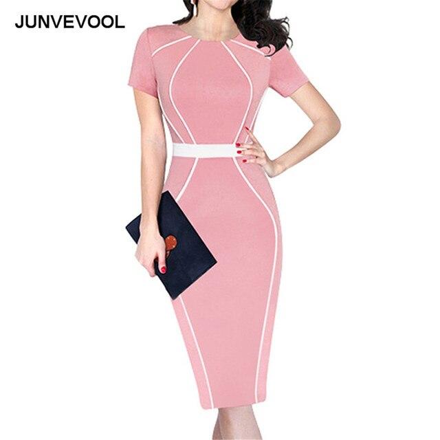 0e410216a11 Ligne blanche Patchwork robe de bureau femmes d affaires élégant à manches  courtes vêtements collier