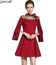 Ladies Long Sleeved Red Gown Autumn Dress Vetement Femme 2017 Women Evening Party Christmas Dress Vestido