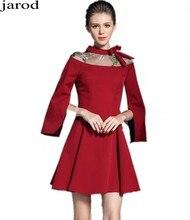 Ladies Long Sleeved Red Gown Autumn font b Dress b font Vetement Femme 2017 Women Evening