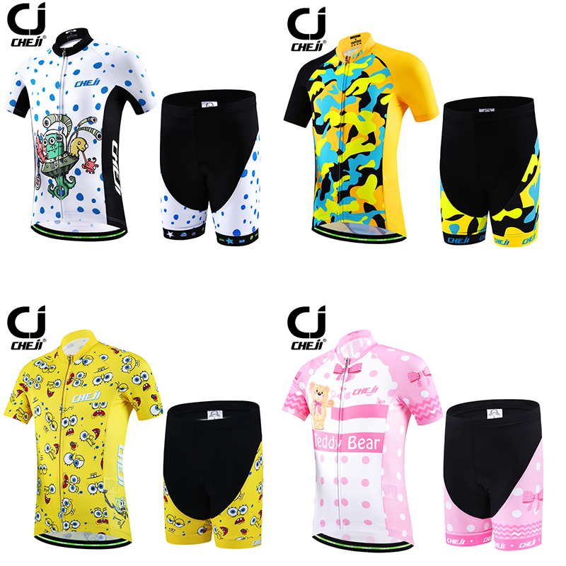 2016 New CHEJI Children Cycling Jersey Sets Ropa Ciclismo Short Sleeve Jersey Bike Bicycle Boys/Girls Clothing For Spring Summer keyiyuan children cycling clothing set ropa ciclismo bicycle kids summer bike short sleeve jersey shorts sets blue