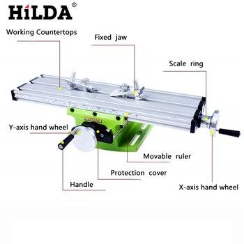 HILDA, máquina de fresado multifunción de precisión en miniatura, Banco de taladro, accesorio de tornillo de banco, mesa de trabajo, ajuste de eje Y, mesa de coordenadas