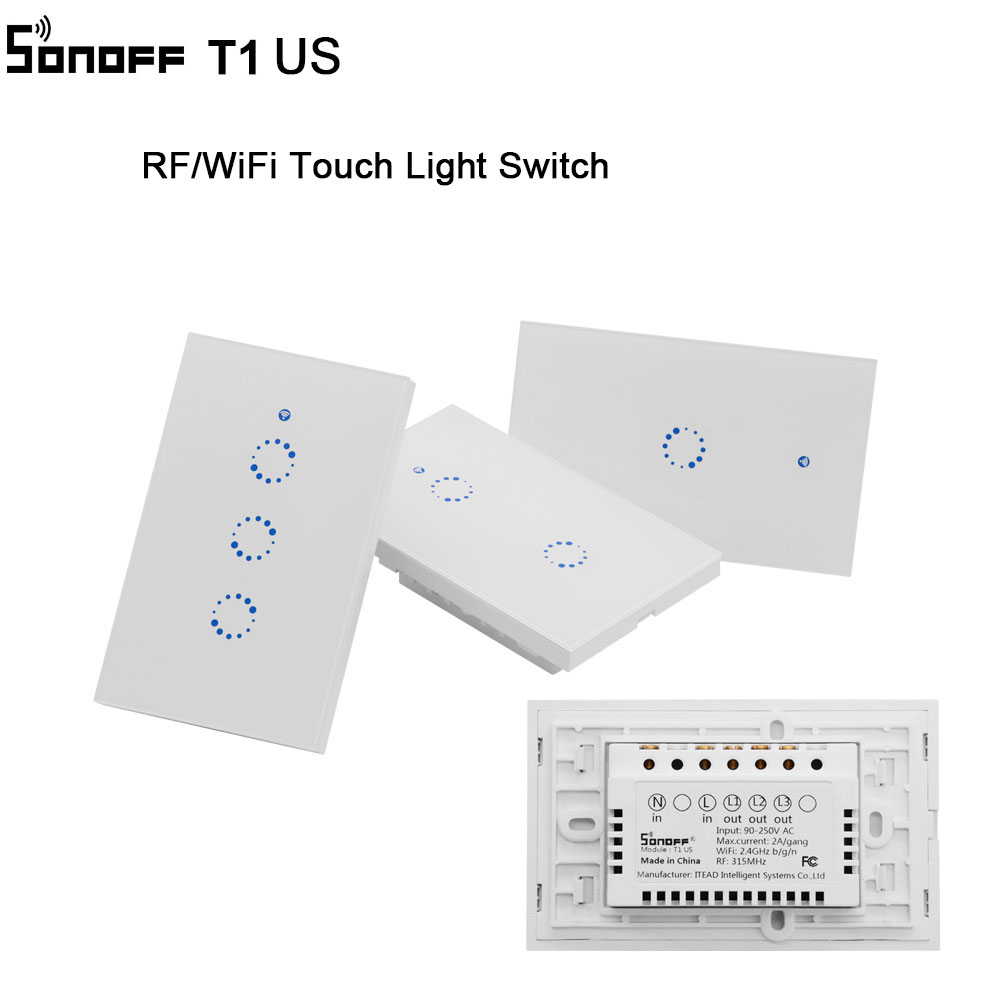 Sonoff T1 US Smart Wifi Wall Touch Light Switch 1 2 3 Gang Touch WiFi /RF/App Remote Smart Home Controller Work with Google Home eu smart wifi wall touch light switch 1 2 3 gang touch wifi app remote smart home sonoff ewelink app controller work with alexa