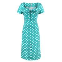 2017 New Women1950s Vintage Straight Bow Dress Short Sleeve Polka Dots Elegant Dress Summer Female Green
