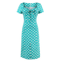 2017 New Women1950s Vintage Straight Bow Dress Short Sleeve Polka Dots Elegant Dress Summer Female Green