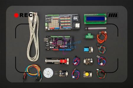 DFRobot DFRduino Mega Kit, include Mega 2560 V3.0 Mega Sensor Shield V2.3 7 led light disk sensors Compatible with arduino Mega kit for arduino uno with mega 2560 lcd 1602 hc sr04 dupont line jumper wires sensors led plastic box