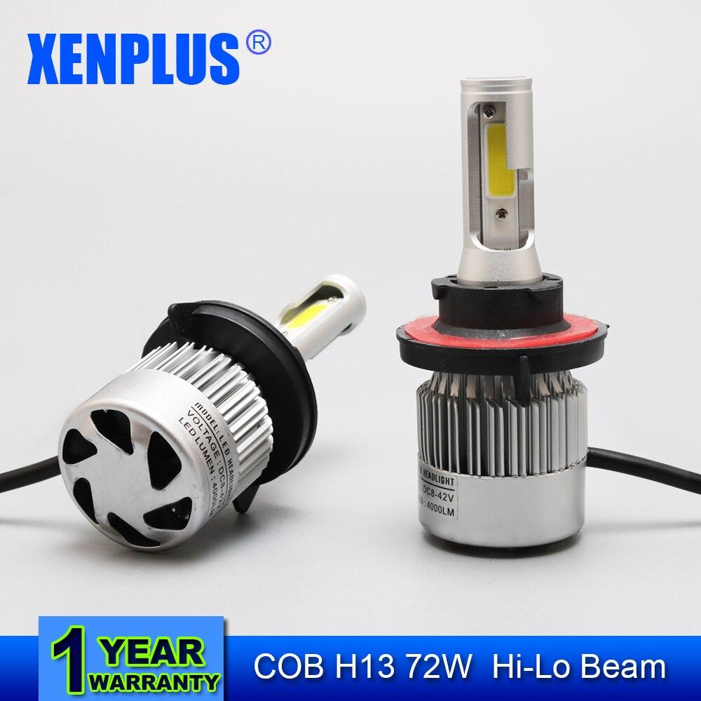 ФОТО Xenplus 2pcs H13 9008 72W 8000LM Car LED Headlight Bulb CREE SMD Chips 6500K All in One  Auto Led Headlamp Fog Light 12v 24v