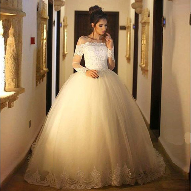 vestido de novia long sleeves ball gown wedding dress casamento 2016