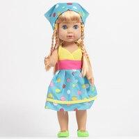 35cm Vinyl Cheap Toys For Children Handmade Blue Clothes Cute Baby Alive Newborn Princess Dolls Gifts