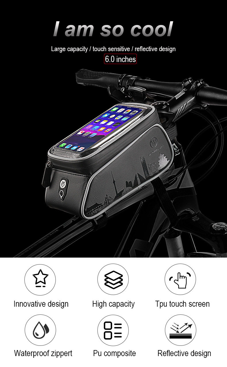 WHEEL UP Touch Screen Front Top Tube Bicycle Bags Rainproof MTB Road  Cycling Bags 6 0 Inch Bike Cell Phone Cases New Selling