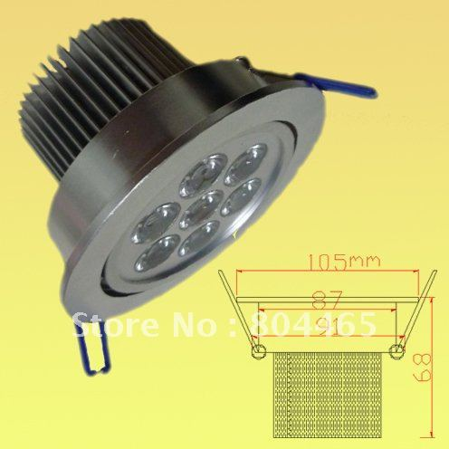 free shipping,5pcs/lot,7w led ceiling light, spotlighting,pure white,aluminum casing