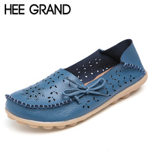HEE GRAND Summer Leather Loafers Casual Platform Shoes Woman Slip On Flats Breathable Women Shoes 9 Colors Size 35-44 XWD3856
