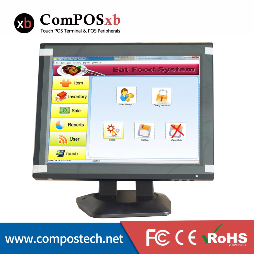 12 Inch Touch Screen Touch Monitor With 5-Wire Resistive Touch Panel For Restaurant Display at050tn33 touch screen 5 inch x580lec520p