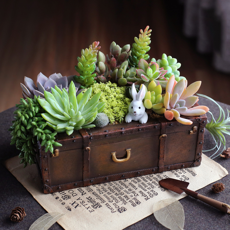 vintage resin suitcase flowerpot succulent plants planter luggage flower pot storage box home. Black Bedroom Furniture Sets. Home Design Ideas