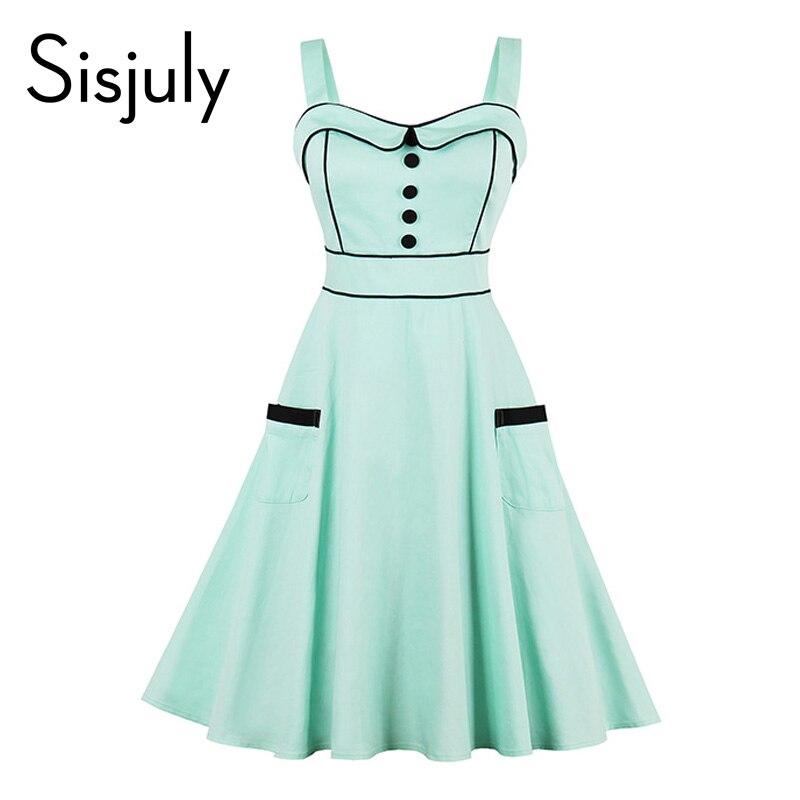 Sisjuly 1950s women vintage dress pin up strap green summer party dresses female elegant beauty 2017 girl vintage dresses