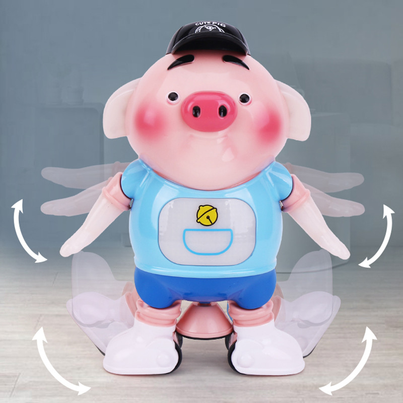 MrY Electronic Toys Vocal  Creative Cartoon Cute 360 Degree Stunt Hyun Dance Seaweed Sprouting Pig Electric