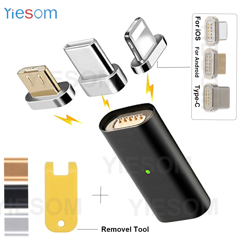 YIESOM Type C/Micro USB/For IPhone 3 IN1 Magnetic Charge Cable Adapter Converter For IPhone Android Type-C Plug Magnetic Adapter