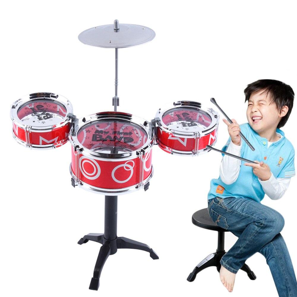 Niños Jazz tambor de juguete instrumentos musicales juguetes platillo Sticks Rock Set mano niños 5 tambores conjunto regalo divertido para niños Niñas