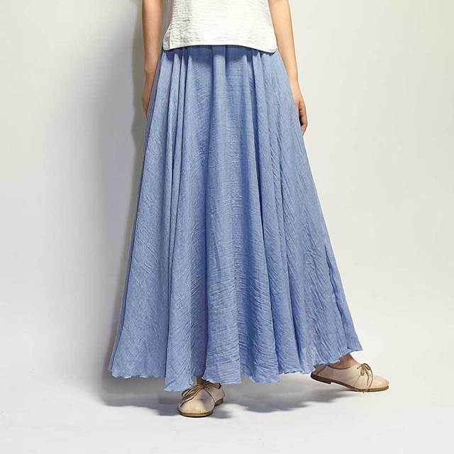 Vintage Cotton Linen Maxi Skirt