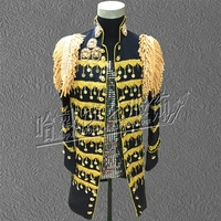 S 6XL!!! 2018 A male singer costumes Black sequins trench coat Nightclub bar Stage performance clothing The singer's clothin