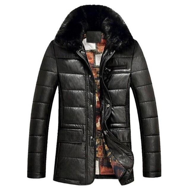 Мужчины теплый кожаная куртка настоящее кролик меховым воротником толстые зимняя куртка пальто хлопка мужской бизнес кожаная куртка натуральный мех пальто