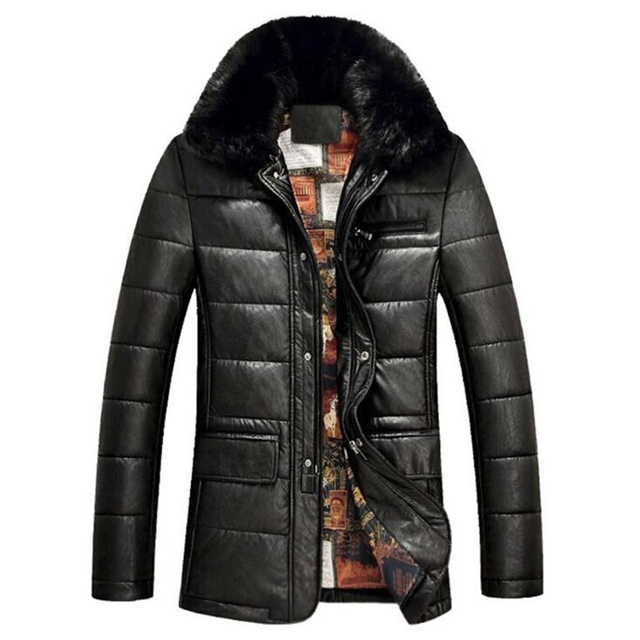 men warm leather jacket real rabbit fur collar thicker jacket winter cotton coat male business leather jacket real fur coat