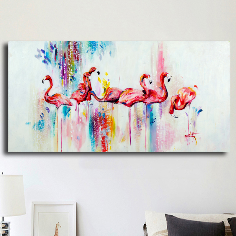 Watercolor Flamingo Hotsell Oil Painting Big Canvas Animal Painting Modern Wall Art Prints Home Decor Frameless Free Shipping