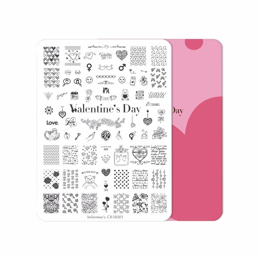 XXL Día de San Valentín Cici & Sisi Manicura estampado Placas estampado sello plantilla Accesorios corazón patrón imagen placa rectangular