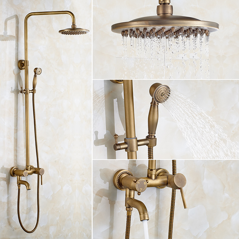 Brass Shower Bath Set European Style Bathroom Hand Held Nozzle, Antique Shower Faucet, Hot And Cold Retro Shower System