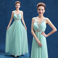 Mint Green Beaded Chiffon Bridesmaid Dresses 2017 Formal Long Wedding Party Dress Plus Size