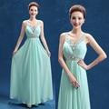 Mint Green Beaded Chiffon Bridesmaid Dresses 2017 Formal Long Wedding Party Dress Plus Size