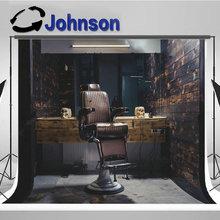 Barber barbershop silla Vintage Fondo Interior de madera fondo de pared de impresión de ordenador de alta calidad