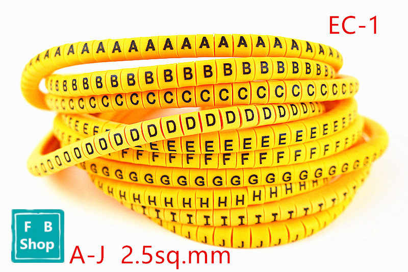500pcs/lot cable marker EC-1 2.5sq.mm A-J ABCDEFGHIJ yellow 10 different letter  mark cable