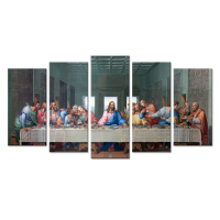 Large 5 Pieces Canvas Wall Art The Last Dinner Supper Family Party World Famous Painting Picture Print On Canvas For Living Room