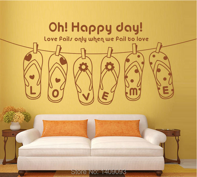 Happy Day Quotes | Hot Sale 2016 Lovely Flip Flops Happy Day Love Me Quotes Wall Decals