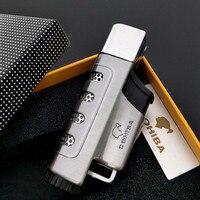COHIBA Gun gray Jet Fire Windproof Cigar Lighter Classic Cuban Refillable Cigarette Flame Lighter without gas fuel
