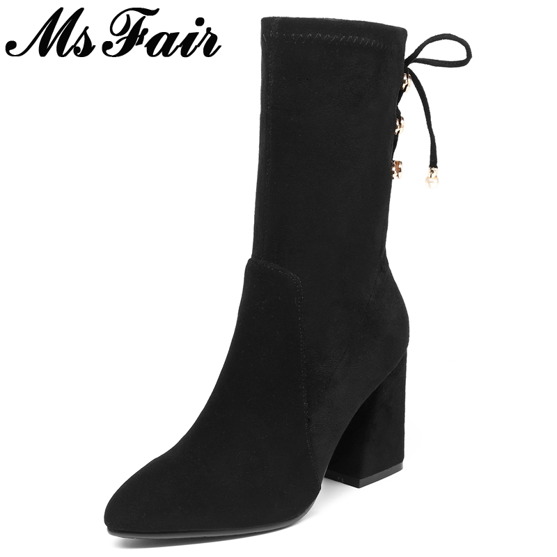 MsFair Pointed Toe High Heel Women Boots Metal Decoration Square heel Ladies Mid Calf Boots New Winter Fashion Black Women Boots russia free tax cnc router wood lathe machine cnc 3040z d500w 4axis usb port for wood working with ball screw