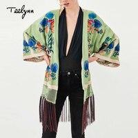 TEELYNN boho jacket for women 2018 autumn green floral embroidery flare sleeve jacket fringe long Coat Hippie female outerwear
