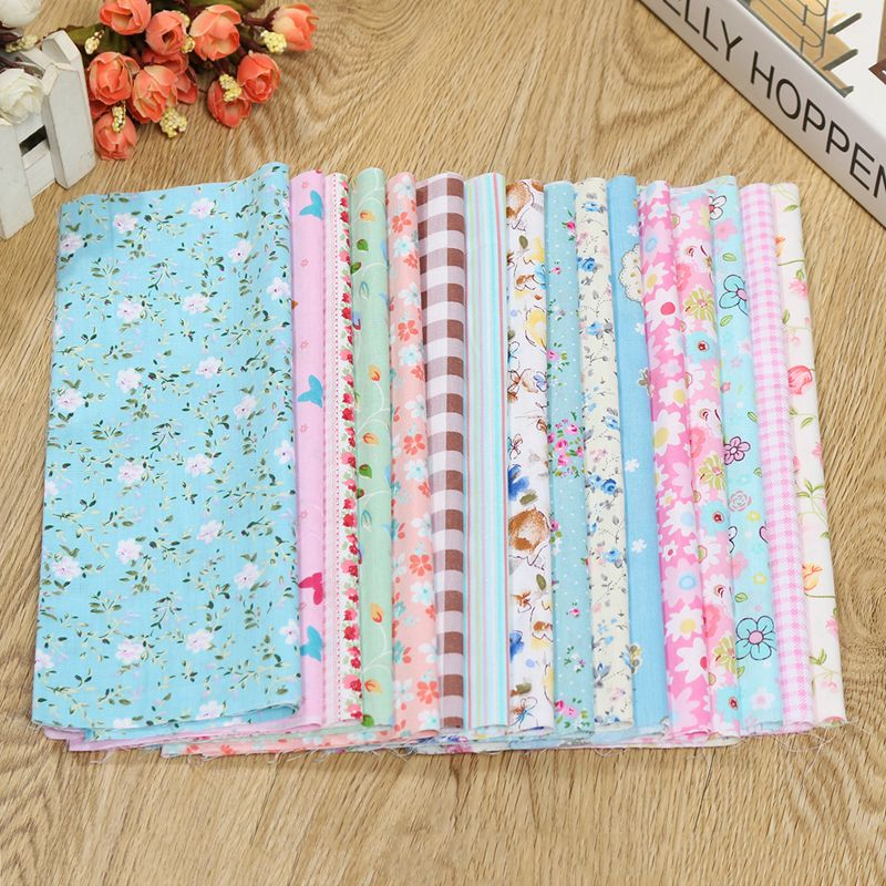 16pcs cotton fabric floral gingham spots pattern cloth for Cotton sewing material