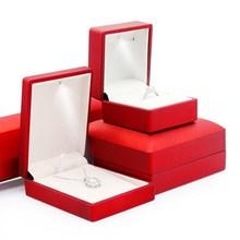 Jewelry Diamond Ring Earring Pendant Bracelet Necklace Box LED Lighted Emitting Iron Display Wedding Marry Propose  Engagement