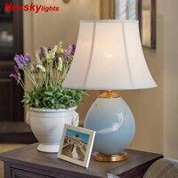 Современные Керамические настольные лампы для спальни Настольная лампа с абажуром Прикроватная лампа настльная светильник в гостиную нас