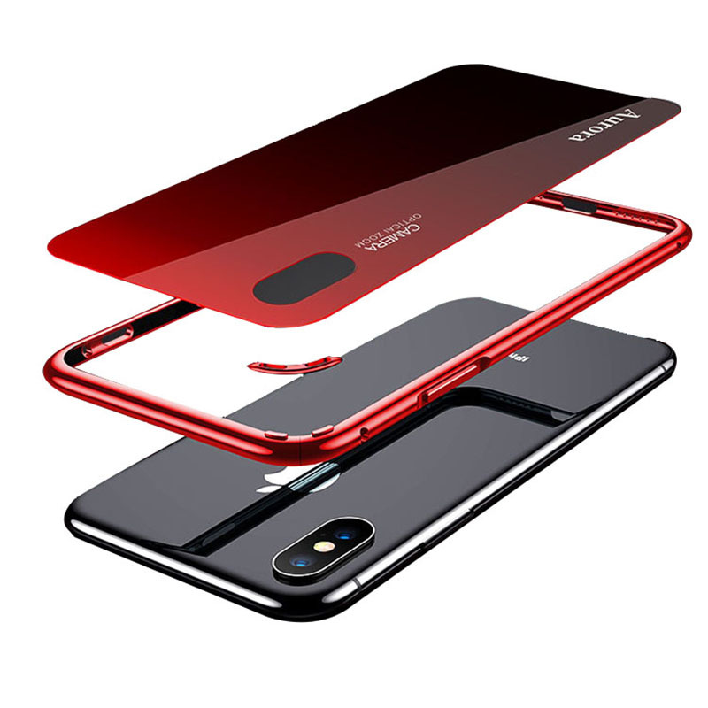 2 In 1 Aluminum Tempered Glass Case For Iphone 7 8 Plus XS Max Case Luxury Metal Frame Slim Glass Back Cover Coque