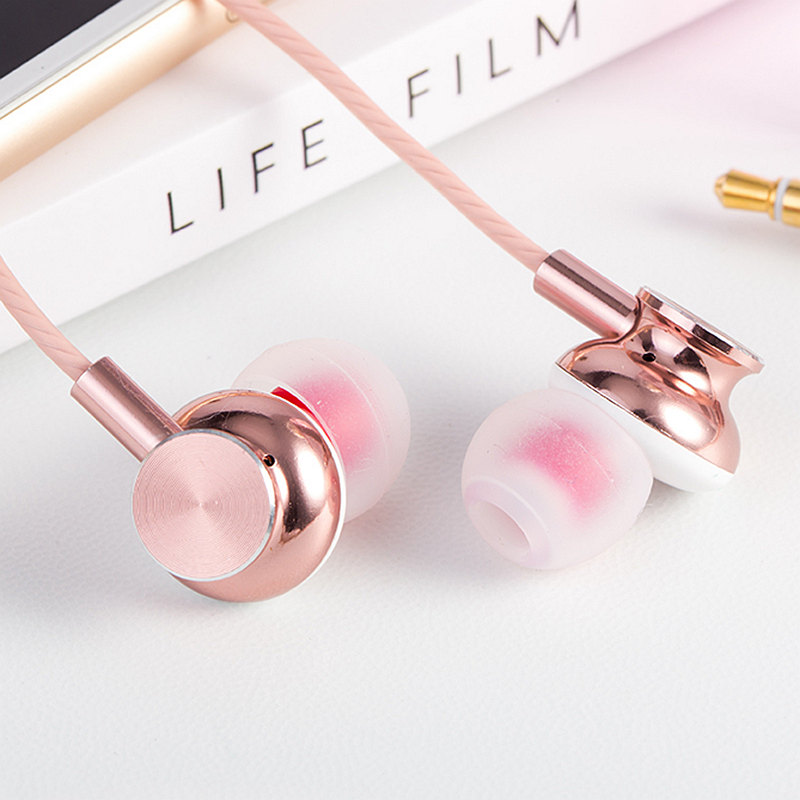 M430 Rose Gold Metal Earphone Fashion ErgoFit Noise Isolating Earbuds Super Bass Headsets with Mic for Airpods Earpods самокат micro maxi t розовый складной