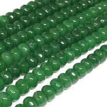 Natural Verde Jade Calcedonia Jasper Piedra 5x8mm Facetadas Rondelle Ábaco Ábaco Suelta Perlas Mujeres Joyería Que Hace 15 pulgadas MY5328