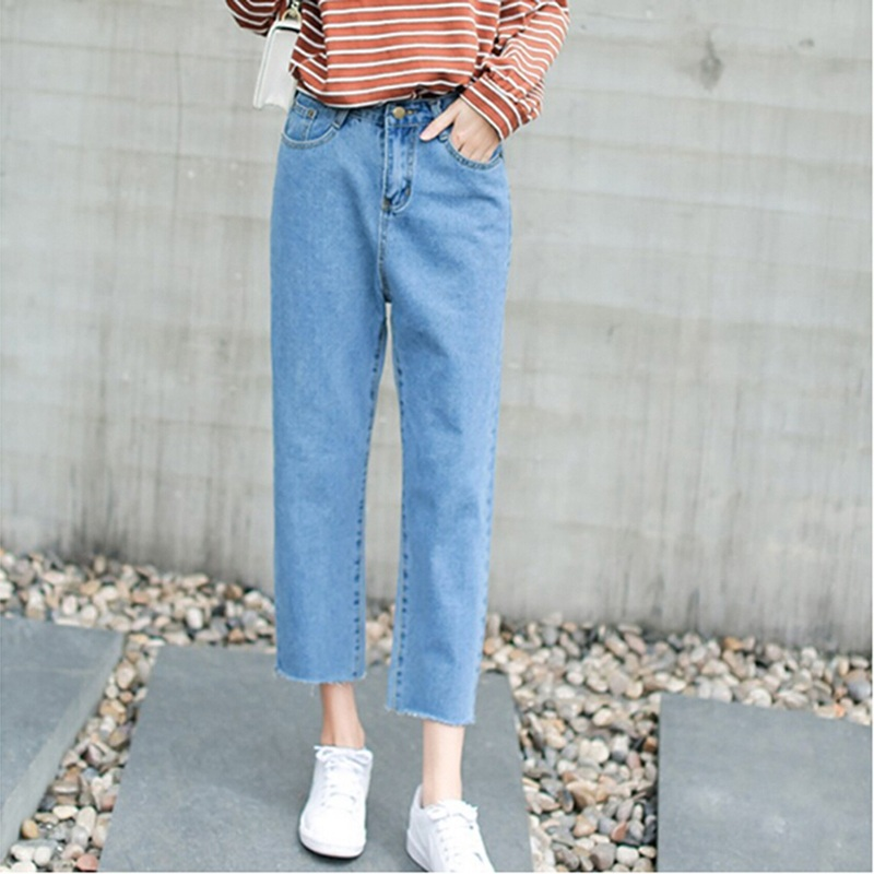 Women High Waist Elastic Tassel Denim Pants  Straight Loose Casual Long Femme Trousers Female Boyfriend Jeans